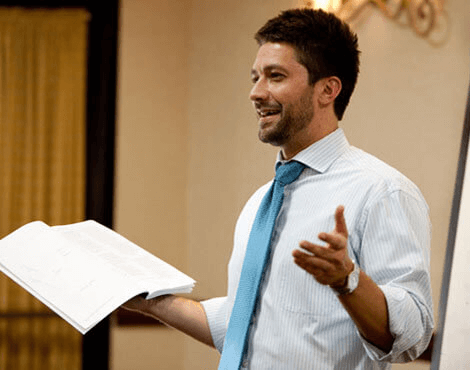 Instructor Sean Metherell teaches an LSAT class